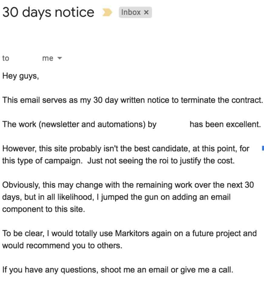 email marketing services cancellation notice